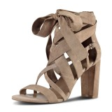FSJ Khaki Suede Lace up Sandals Open Toe Strappy Vegan Chunky Heels