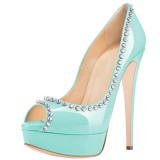 Women's Cyan Peep Toe Pumps With Rivets  Stiletto Heel Dress Shoes