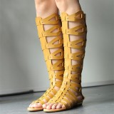 Yellow Knee-high Roman Sandals Vintage Flats Gladiator Sandals