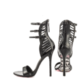 Women's Black Strappy Sandals Printed Open Toe Stiletto Heels Pumps