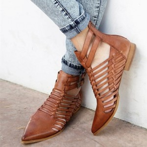 Brown Straps Flat Ankle Summer Boots