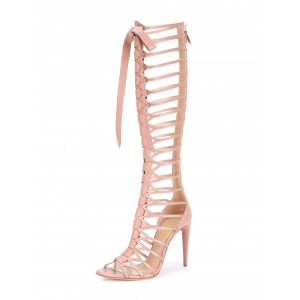 Pink Gladiator Heels Knee-high 4 Inches Lace up Heels Sandals