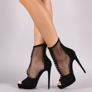 Black Nets Peep Toe Platform Stiletto Heels Summer Boots