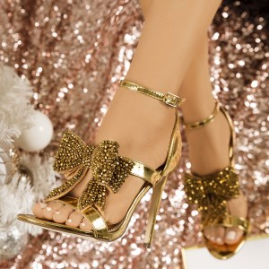 Gold Rhinestone Bow Sandals Metallic Ankle Strap Evening Shoes