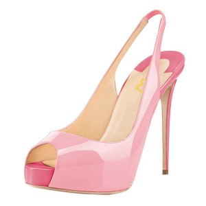 Women's Pink Stiletto Heels Peep Toe Patent Leather Cute Shoes Slingback Pumps with Platform