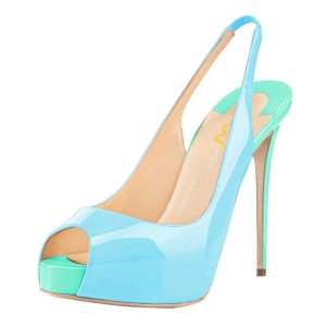 Light Blue Slingback Pumps Peep Toe Patent Leather Stiletto Heels