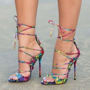 Women's Colorful Python Stiletto Heels Strappy Sandals