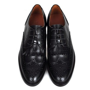 Black Women's Oxfords Fringe Lace-up Vintage Shoes