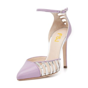 Violet Pointy Toe Ankle Strap Heels Hollow Out Stiletto Heel Pumps
