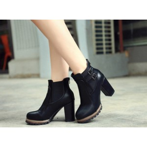 Women's Black Pointed Toe Chunky Heels Ankle Vintage Boots