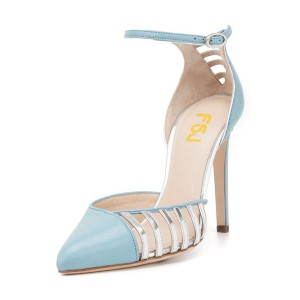 Women's Light Blue Pointy Toe Ankle Strap Heels Hollow Out Stiletto Heel Pumps
