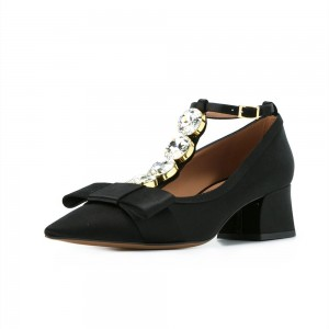 Black Crystal Bow Block Heel Satin T Strap Pumps