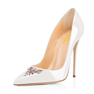 Women's White Pointy Toe Floral Office Heels Stiletto Heels Pumps