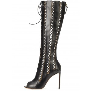 Women's Black Hollow-out Knee-high Strappy Heel Boots