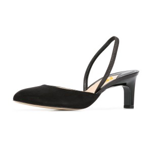 Women's Leila Black Almond Toe Chunky heel Slingback Pumps