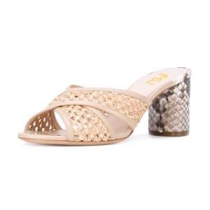 Beige Block Heel Sandals Python Knit Open Toe Mules