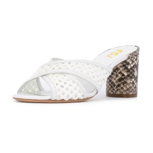 White Block Heel Sandals Python Knit Open Toe Mules