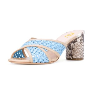 Light Blue Python Open Toe Mule Sandals