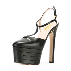 Black Platform Sandals T Strap Closed Toe Chunky Heels