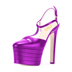 Purple Platform Sandals T Strap Closed Toe Chunky Heels