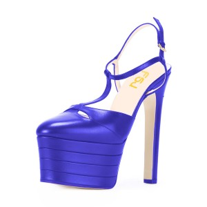 Blue High Heels T Strap Platform Closed Toe Sandals Chunky Heels