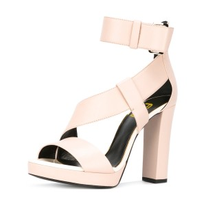 Beige Block Heel Sandals Ankle Strap High Heels
