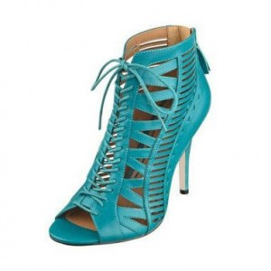 Teal Shoes Lace up Peep Toe Stiletto Heel Summer Booties