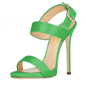 Green Slingback Heels Satin Open Toe Stiletto Heels Sandals