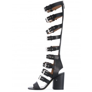 Women's Black Open Toe Slingback Hollow-out Chunky Heel Gladiator Sandals