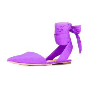 Women's Violet Pointed Toe Flats Ankle Strap Sandals