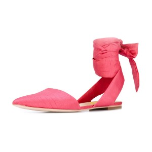 Women's Hot Pink Heels Pointed Toe Ankle  Strap Flats Sandals