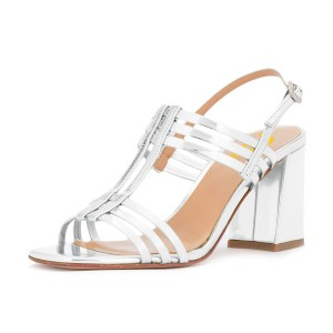 Women's Silver Caged Slingback Block Heel Sandals