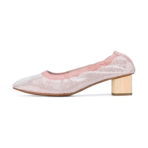 Pink Chunky Heels Comfortable Round Toe Sequined Pumps