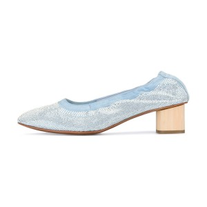 Light Blue Chunky Heels Comfortable Round Toe Sequined Pumps