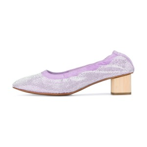 Light Purple Chunky Heels Comfortable Round Toe Sequined Pumps