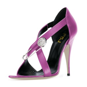 Women's Violet Cross Over Stiletto Heel Sandals 4 Inch Heels