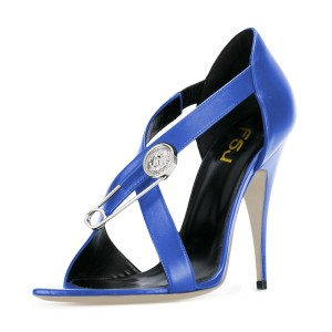 Women's Royal Blue Cross Over Stiletto Heel Sandals 4 Inch Heels