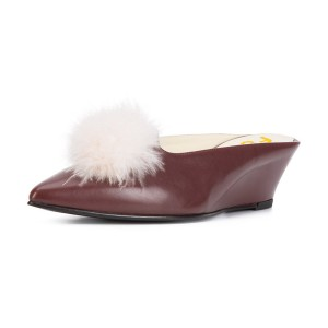 Maroon Wedge Heel White Feathers Ball Mule Pumps
