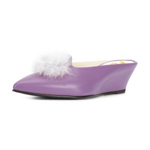 Purple Wedge Heels Pointy Toe Mules Pumps with Fluffy Ball