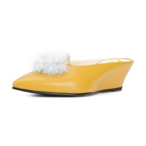 Yellow Wedge Heels Pointy Toe Mules Pumps with Fluffy Ball