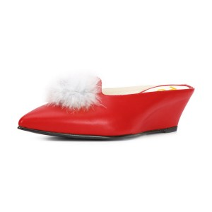 Red Wedge Heels Pointy Toe Mules Pumps with Fluffy Ball