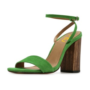Women's Green Suede Block Heel Ankle Strap Sandals
