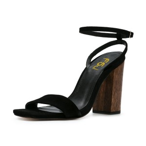 Women's Black Block Heel Ankle Strap Sandals