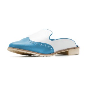 Women's Light Blue and White Hollow Out Mule Sandals Vintage Shoes