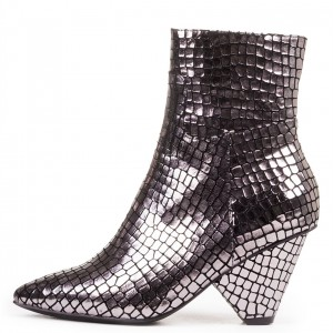 Silver Chunky Heel Boots Pointy Toe Mirror Ankle Boots