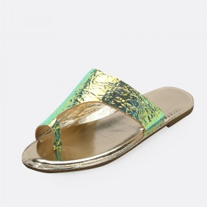 Bright Green Women's Slide Sandals Open Toe Flat Mule Sandals