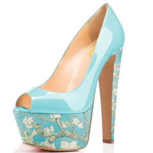 Women's Blue Flowers Printed Pumps Chunky Heels Shoes