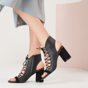 Black Lace Up Summer Boots Peep Toe Slingback Sandals