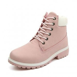 Women's Pink Round Toe Snow Lace Up Comfortable Flats Boots