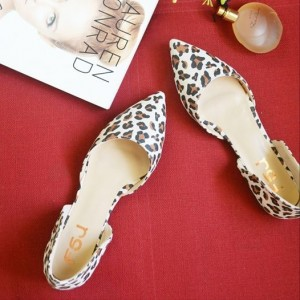 Leopard Print Flats Pointy Toe Double D'orsay Shoes US Size 4-15